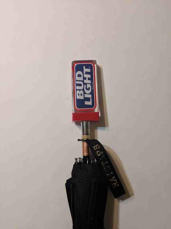 Small Vintage Rectangular Bud Light Tap Handle Umbrella