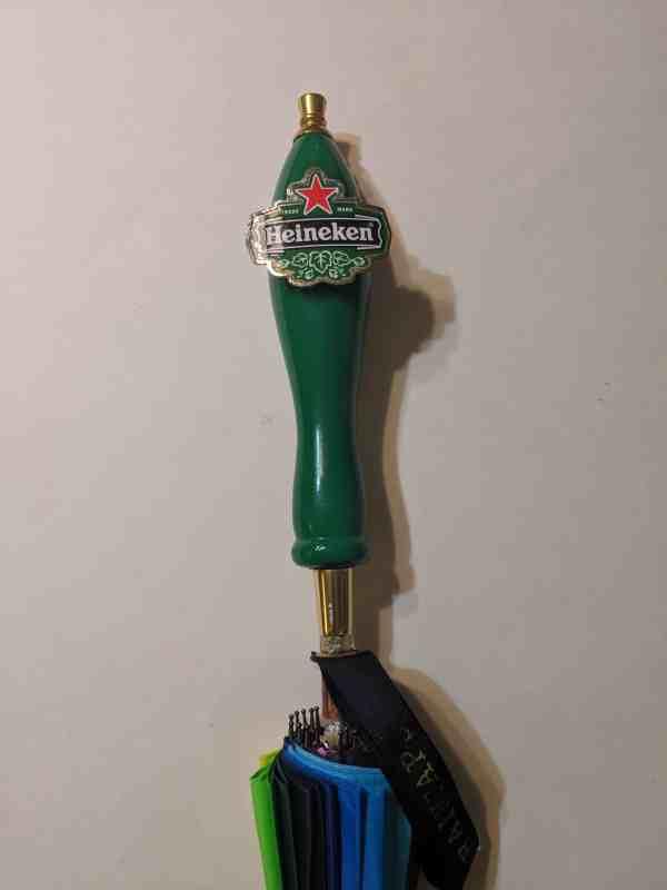 RainTaps Umbrella - with Vintage Heineken Tap Handle