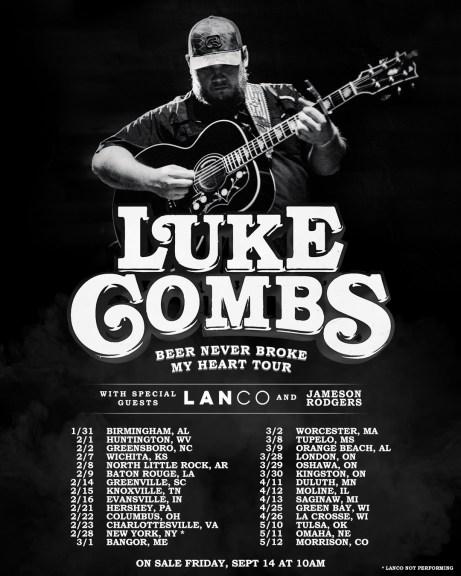 Luke Combs Tour 2020 Raised Rowdy