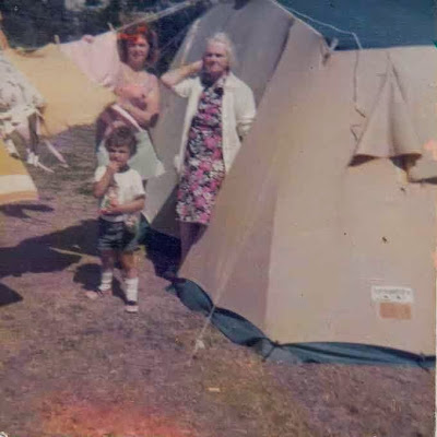 my nan, auntie and cousin outside a tent on a camping holiday in the late 70s