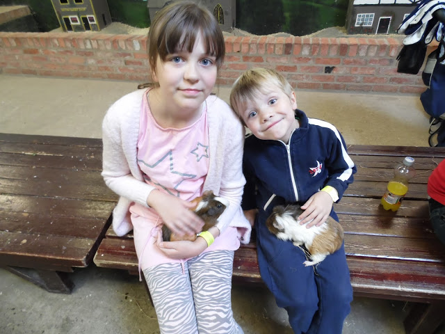 two happy children stroking guinea pigs