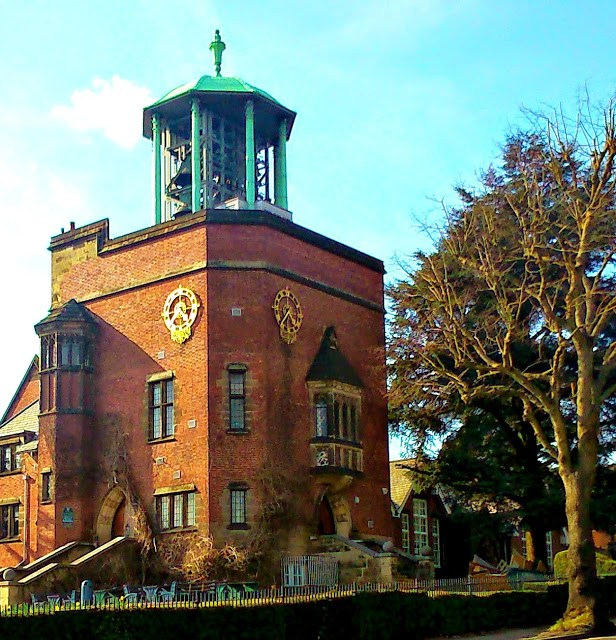 A photo of the carillon bell tower of Bournville