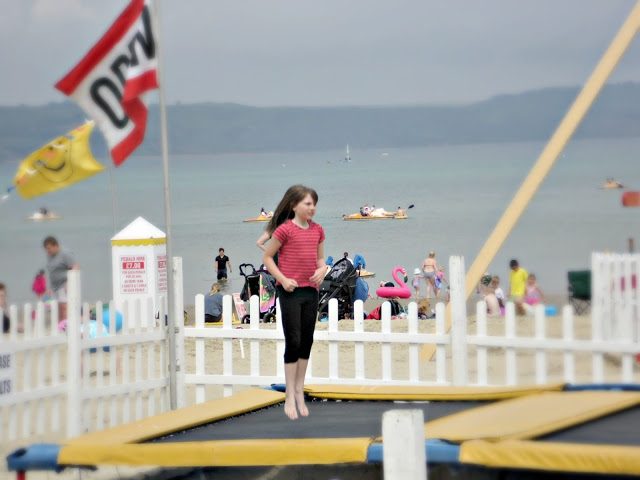 trampoline on the beach