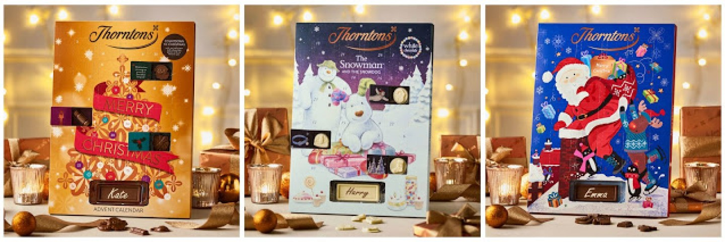 three advent calendars from Thorntons