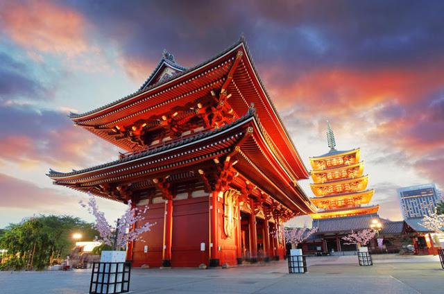 japense temple taken at sunset