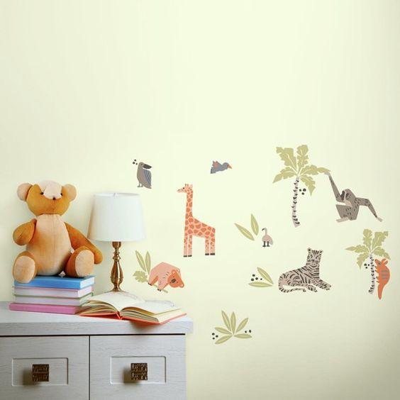 animal wall stickers, giraffe, leopard, monkey, koala bear