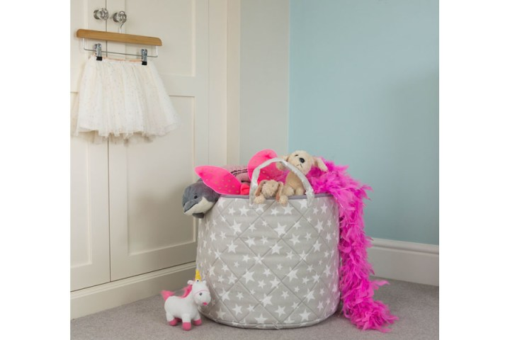 soft toy basket in light grey colour with stars