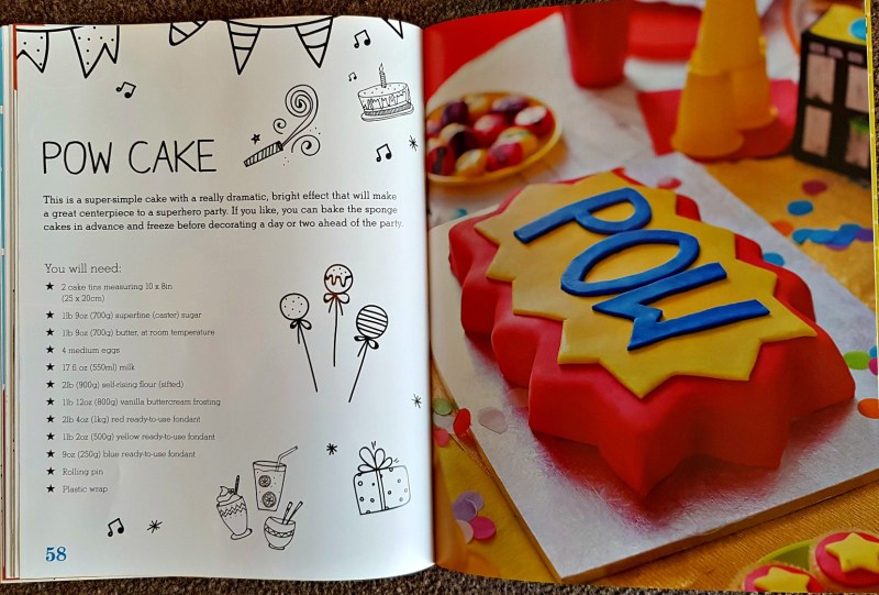 pages from the book featuring a lovely bright birthday cake with the word Pow on it