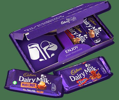 a box of a selection of Cadbury Dairy Milk Bars