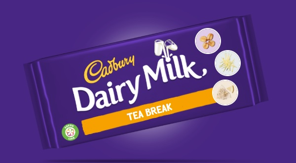 a cadbury dairy milk bar invention called Tea Break and made with biscuits, ginger and lemon green tea