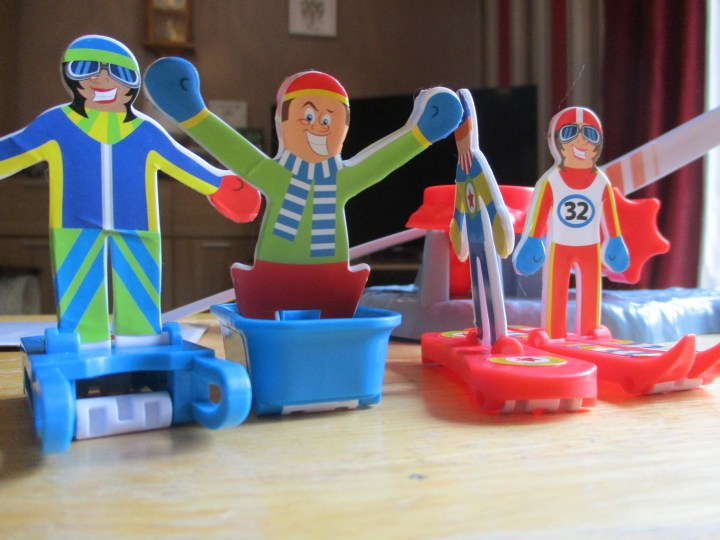 the four Playing pieces from the Super Ski Jump game