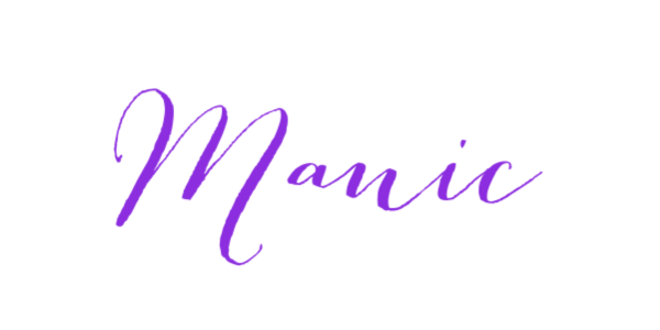 The word manic in purple