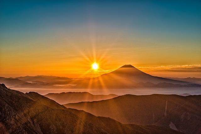 mount fuji in Japan at sunset
