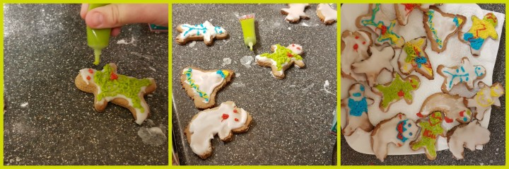 a collage of three photos showing in 1. a green iced monster, in 2.  skeleton, ghost, witches hat and monster cookies and in 3. a plate of different decorated halloween cookies.