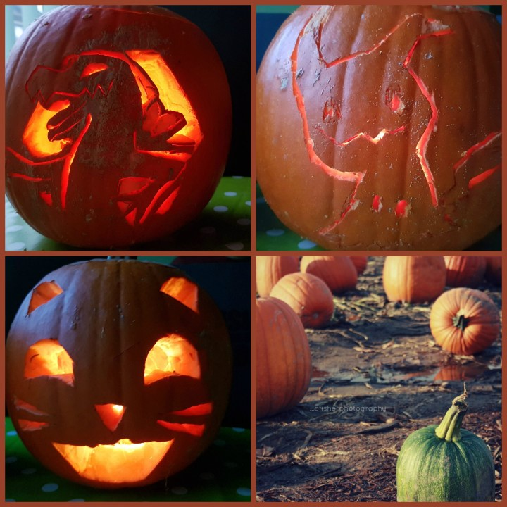 a collage of carved pumpkins