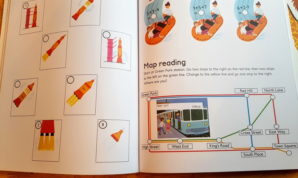 a page from the transport activity book showing a rocked activity, some boat sums and a map reading activity