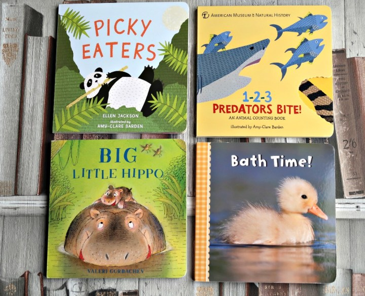photograph, four baby board books - Picky Eaters, 123 predators bite, Big Little Hippo, Bath Time.