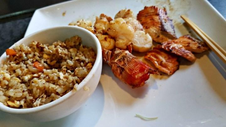 teppanyaki main course, rice, lobster, scallops and salmon