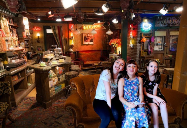 edited photo putting Boo and her friends in Central Perk Cafe from the Friends set