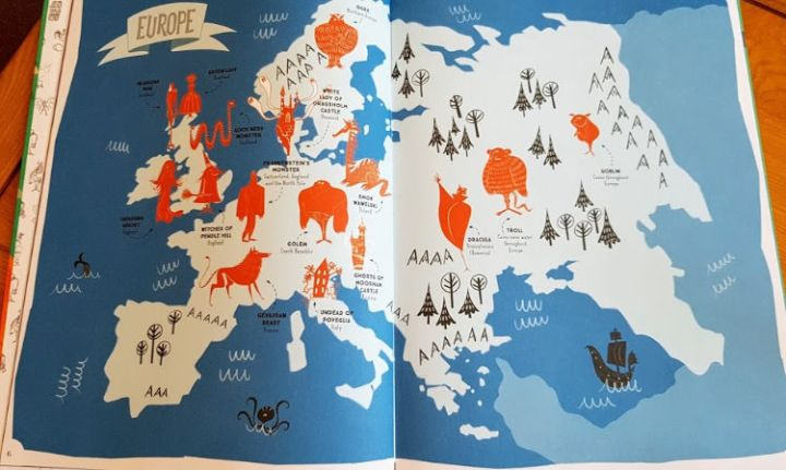 Map of Europe from the book showing where you can locate monsters and ghosts