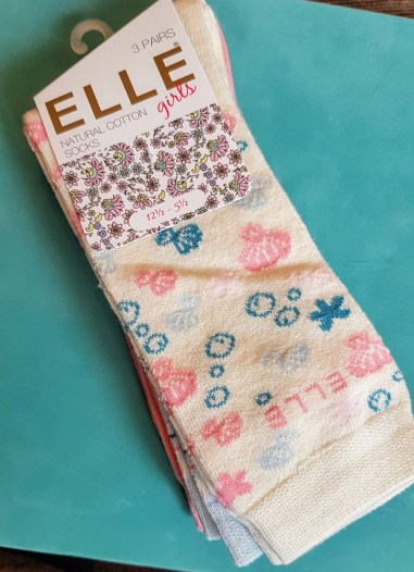 3 pairs of Elle natural cotton socks from the Sock Shop