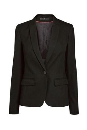 A smart, single buttoned black ladies jacket