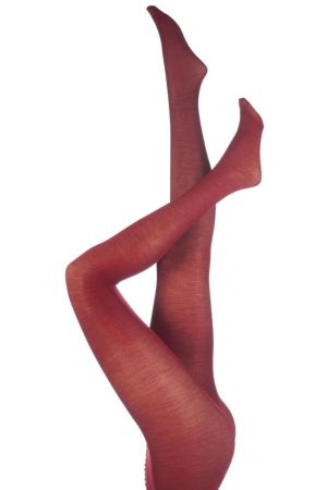 one pair of red tights modelled on upside down legs