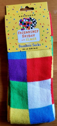 brightly coloured Elmer socks from the sock shop celebrating Friendship Friday