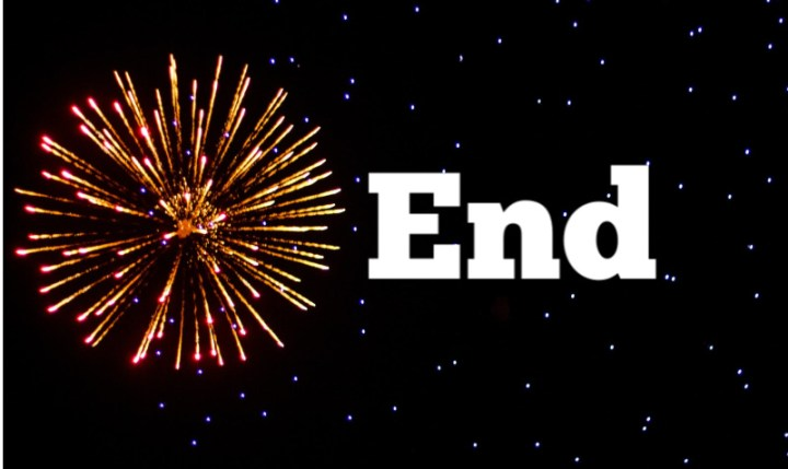 Firework explosion and the word End