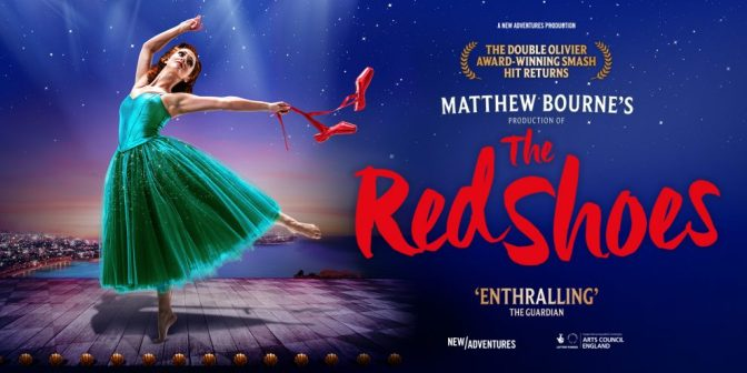 Poster for Matthew Bourne's The Red Shoes, showing a ballet dancer in a green dress