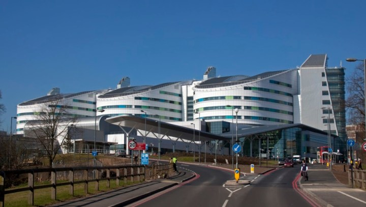 QE Hospital Birmingham Looking at the hospital from the front.