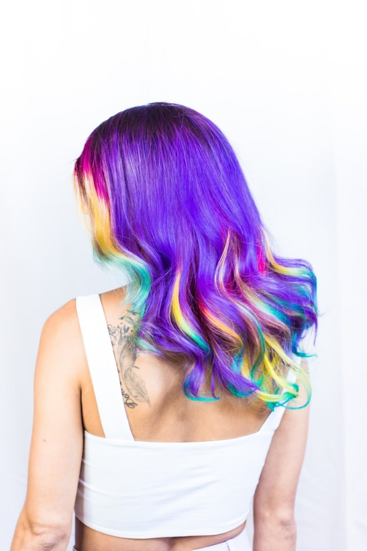 colourful hair, women's wigs
