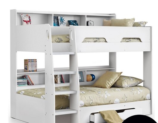 bunk bed with shelves in white