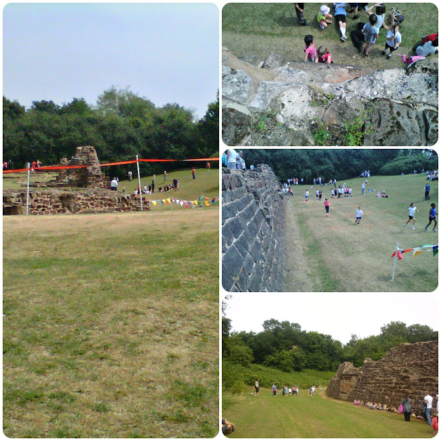 collage of photos of children doing their sports at the local castle ruins