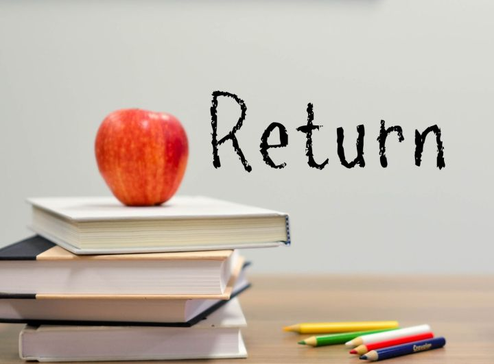 Image shows school books and pencil and the word return. There is an apple placed on top of the books.