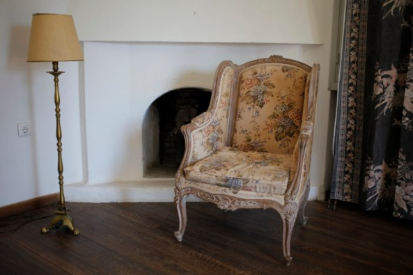 home improvements, an old chair, lamp and curtains ready for upcycling.