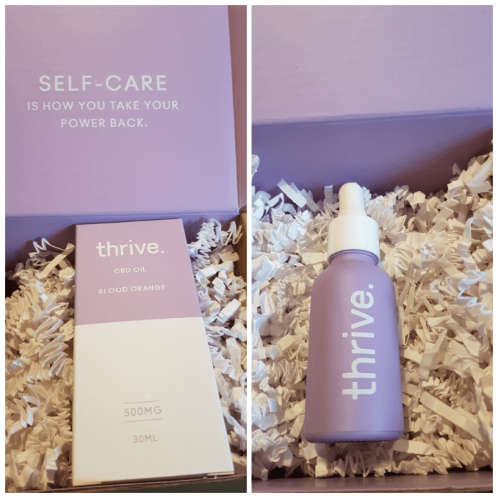 Thrive CBD oil collage, one pick of the box and the other a light purple bottle of Thrive CBD oil