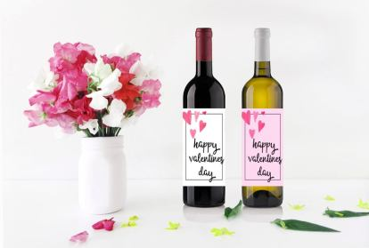 Happy Valentines Day wine bottle label print