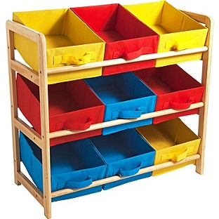 storage shelf in red, blue and yellow