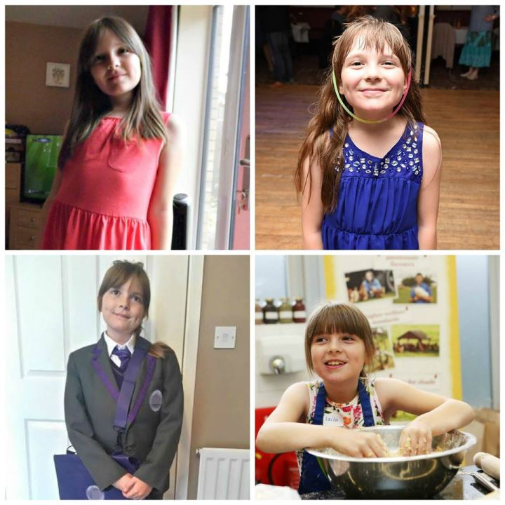 a montage of photos of Boo, one on her 9th birthday in a pink dress, one as a bridesmaid being a bit silly, one in her school uniform and one with her baking a cake