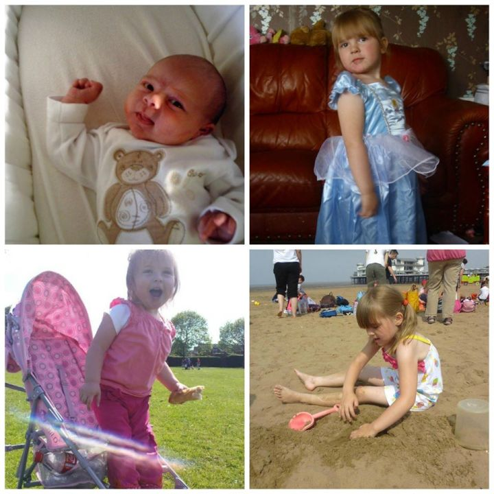 mantage of photos of Boo, baby picture, one of her in her pushchair, one in a princess dress and one on the beach.