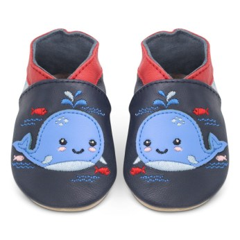 A pair of very cute baby shoes with whales on them from the Dotty Fish Affiliate program