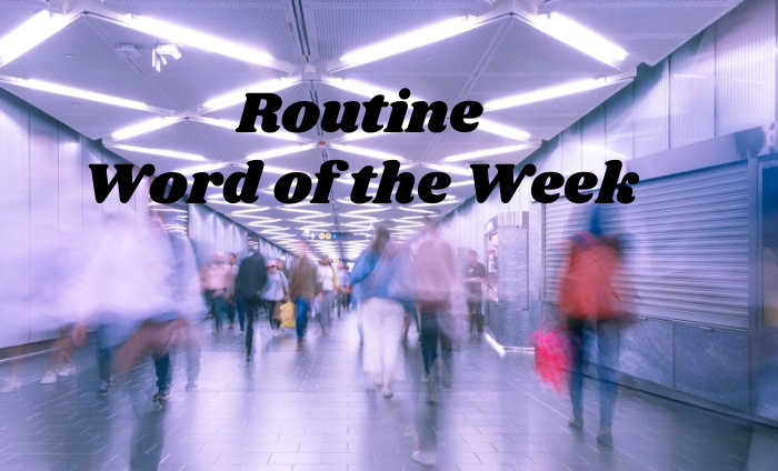 routine, word of the week, a blurry photo of people rushing around.