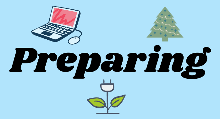 preparing, laptop, christmas tree and an energy plant