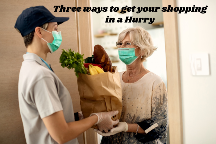 3 ways to get your shopping in a hurry, a lady receiving a food delivery