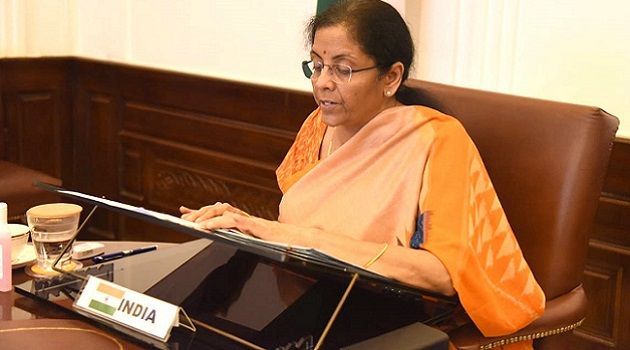 Union Minister for Finance and Corporate Affairs Nirmala Sitharaman attending the Plenary Meeting of the International Monetary and Financial Committee, the Ministerial-level committee of the International Monetary Fund through video conference, in New Delhi on April 16, 2020.