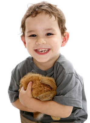 Happy boy with bunny