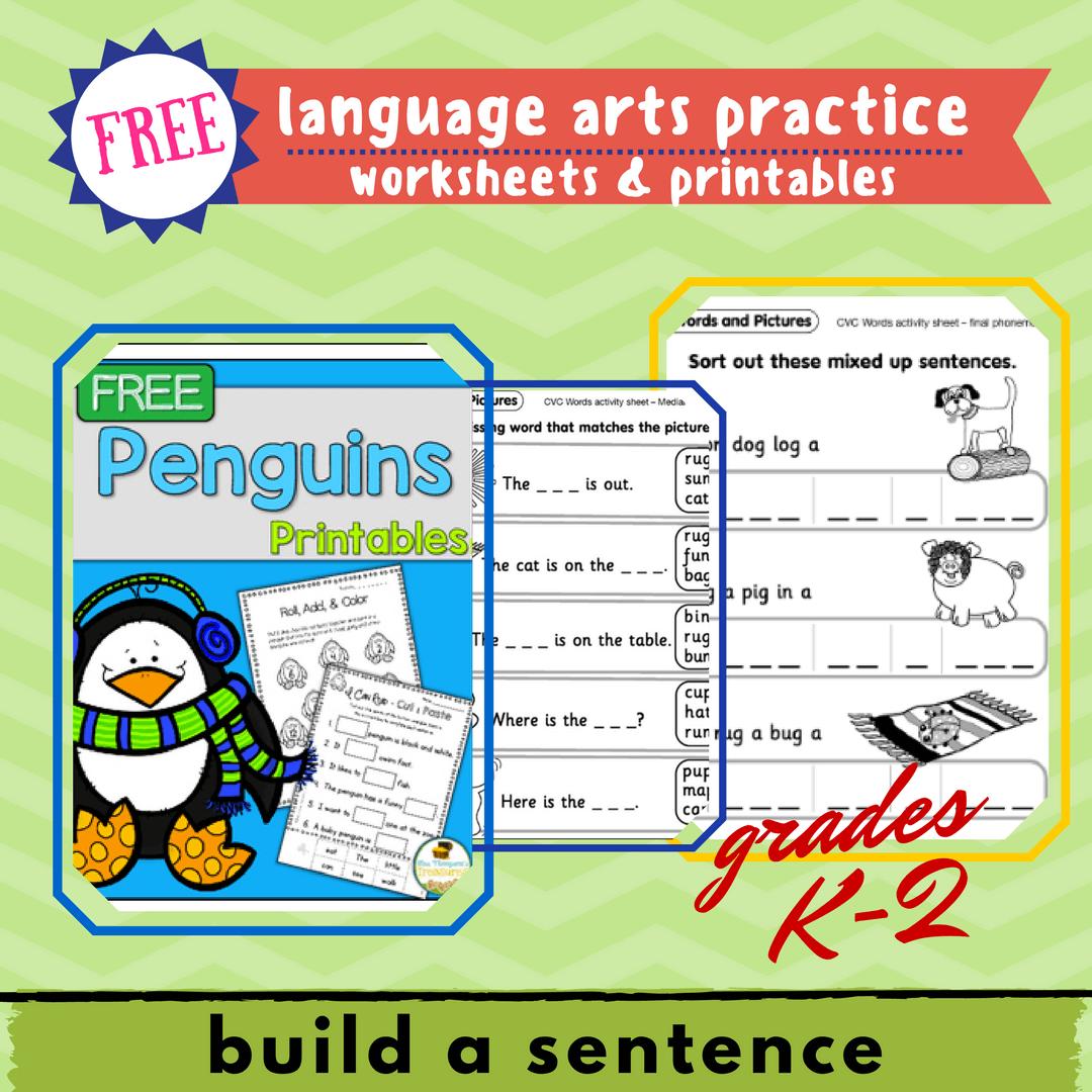 Language Arts Practice K 2 Build A Sentence Free Printables Raising A Self Reliant Child