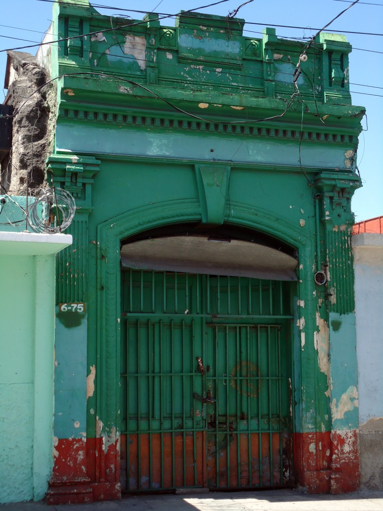 Aqua weathered facade