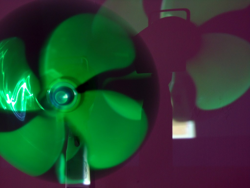 Installation of fan with cast shadow. Beautiful in person.